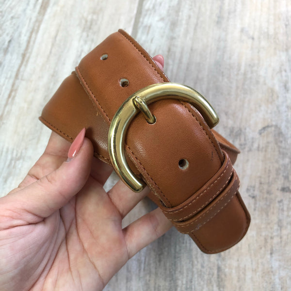 Coach British Tan High Waisted Leather Belt 28/70 XS