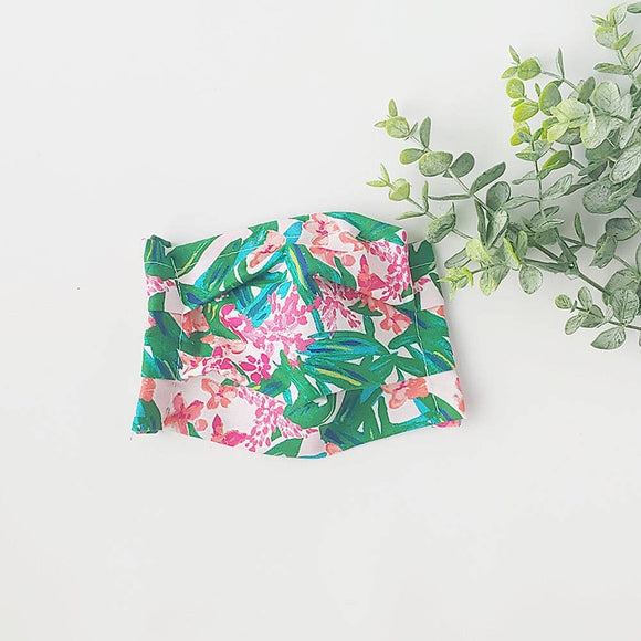 Pink Tropical Greenery Cotton Face Mask