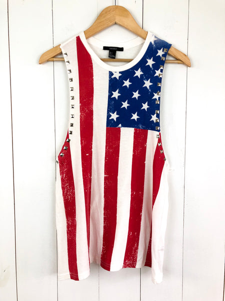 Forever 21 American Flag Muscle Tank Small