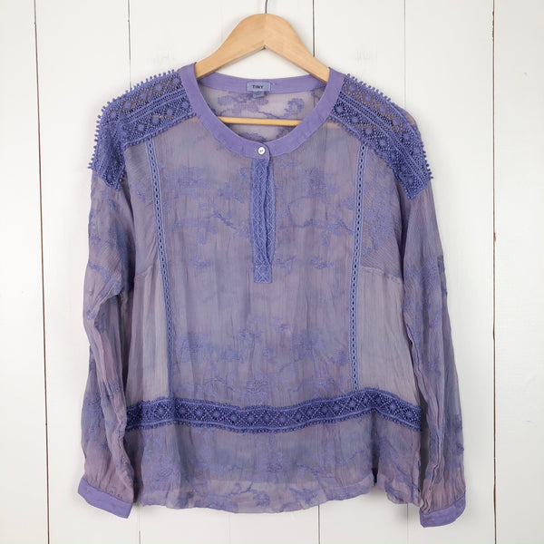 TINY by Anthropologie Embroidered Long Sleeve Top Small