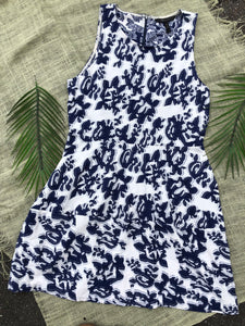 BCBG Blue and White Midi Dress - L