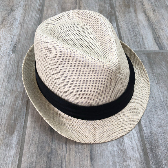Straw Black Fedora Hat L/XL