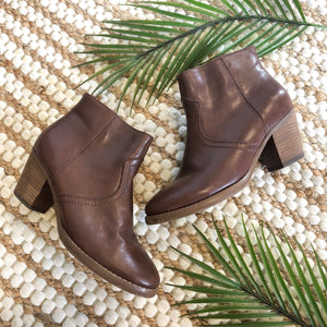 Brown Leather Booties - Size 5