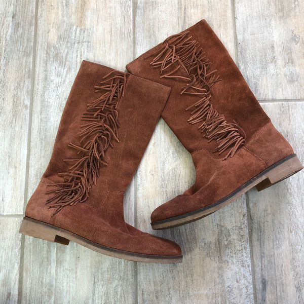 Lucky Brand Suede Leather Fringe Boots 10