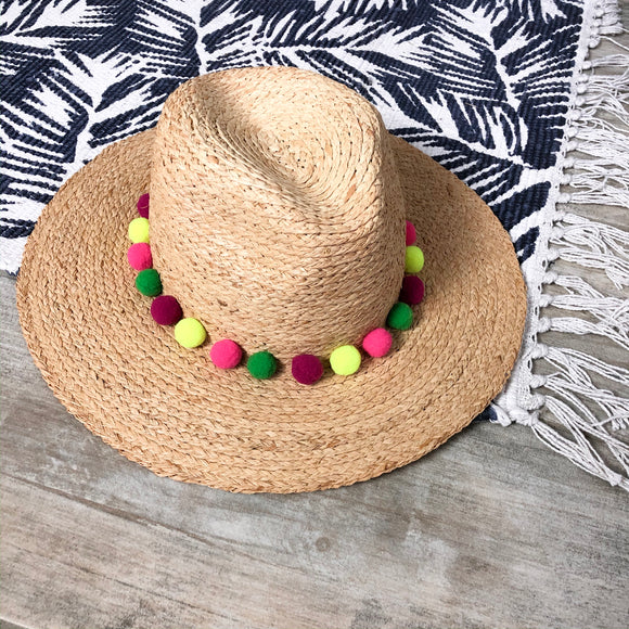 Michael Star Pom Pom Straw Hat