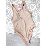 Forever 21 Nude Deep V One Piece Swimsuit NWT Large