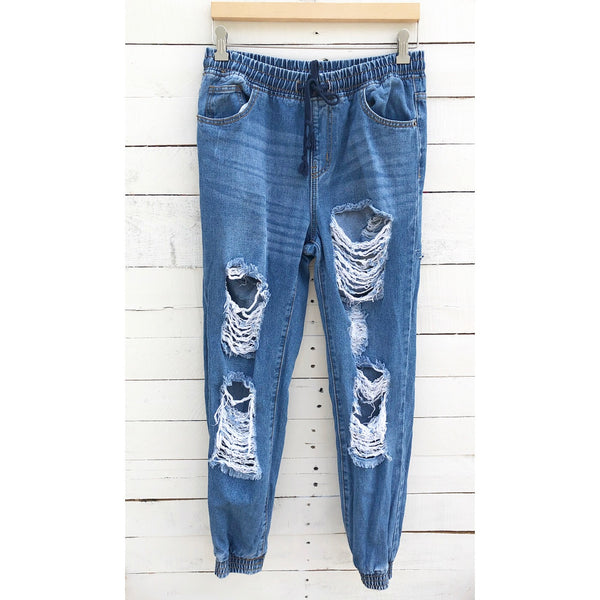 Forever 21 Ripped Jean Joggers - M
