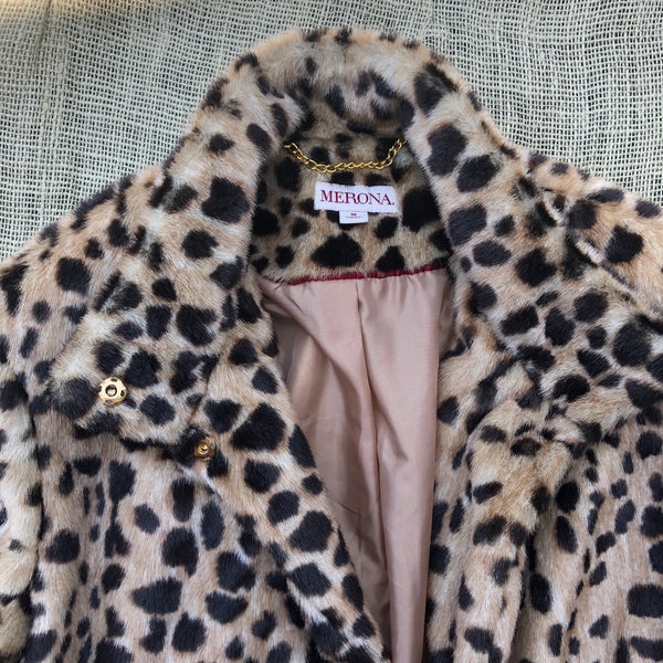 Leopard Faux Coat -M