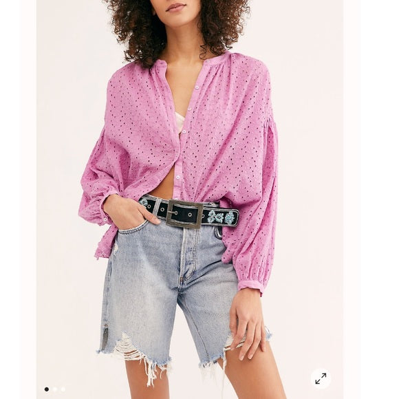 Free People Maddison Eyelet Blouse in Orchid NWT L
