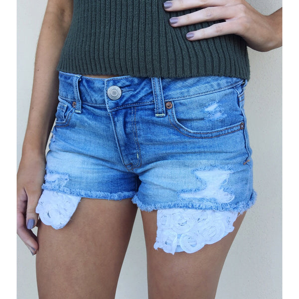 AEO Shortie Shorts with Lace Pockets