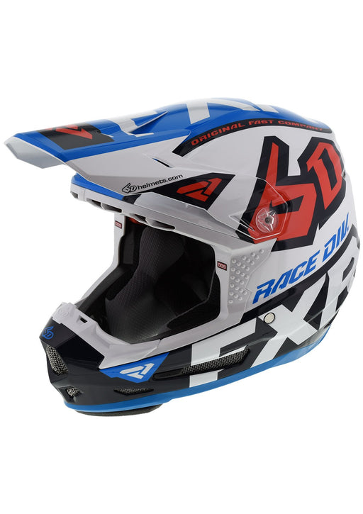 Youth 6D ATR-2Y Helmet in White/Navy/Blue/Nuke Red