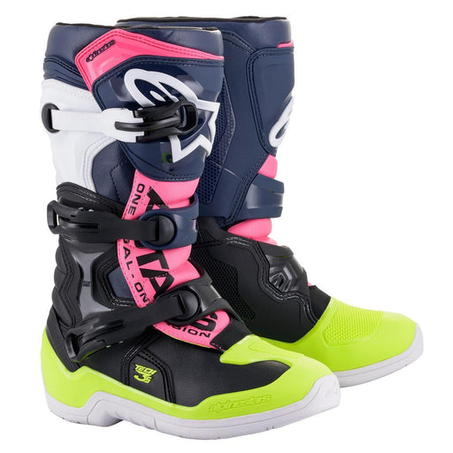 Alpinestars Youth Tech 3S Motocross/Off-Road Boots in Black/Blue/Pink