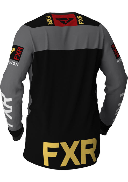 FXR Helium MX Jerseys in Charcoal/Rush/Gold