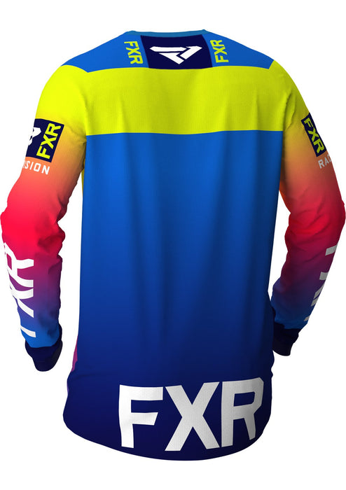 FXR Helium MX Jerseys in Coral/Blue Fade/Hi-Vis