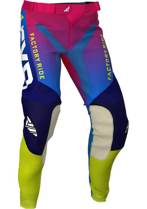 FXR Youth Pro-Stretch MX Pants in Helium Coral/Blue Fade/Hi-Vis