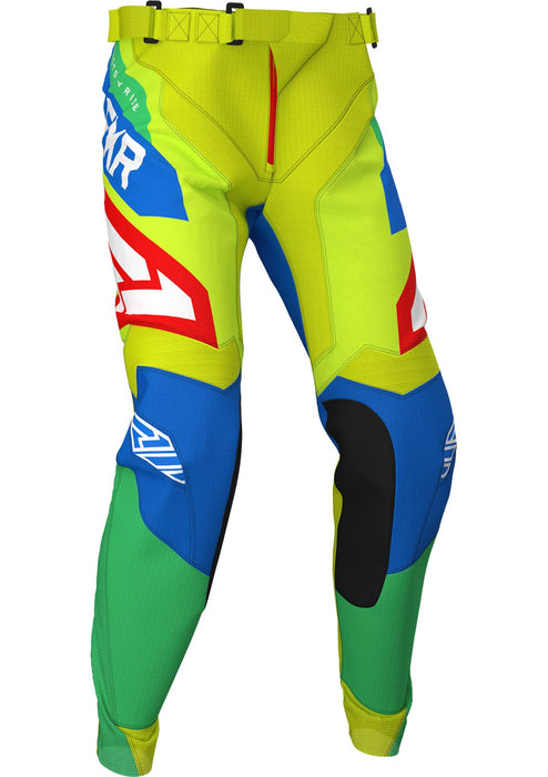 FXR Youth Clutch Air MX Pants in Hi-Vis/Blue/Green/Red