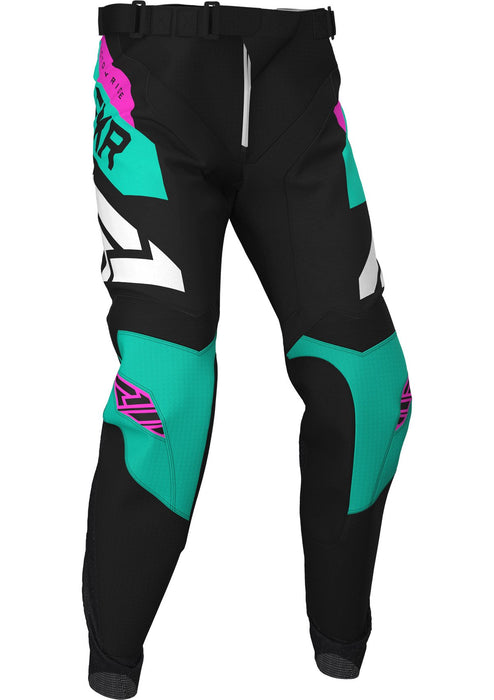 FXR Podium MX Pants in Black/Mint/Electric Pink