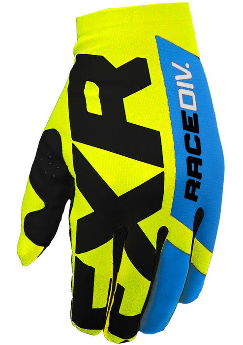 FXR Slip On Lite MX Gloves in Hi-Vis/Black/Blue