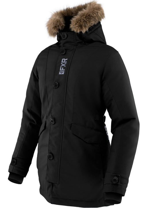 Svalbard Women's Parka in Black/Grey - Front