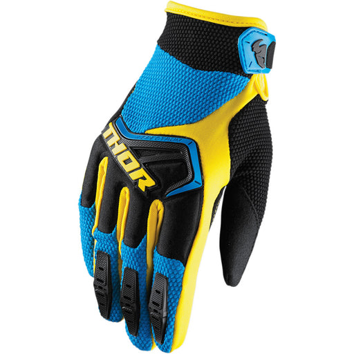 Thor Youth Spectrum Gloves in Blue/Black/Yellow