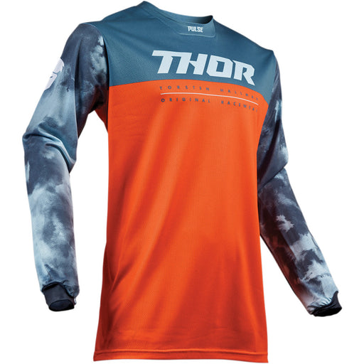 Thor Youth Pulse Air Acid Jerseys in Red-Orange/Slate