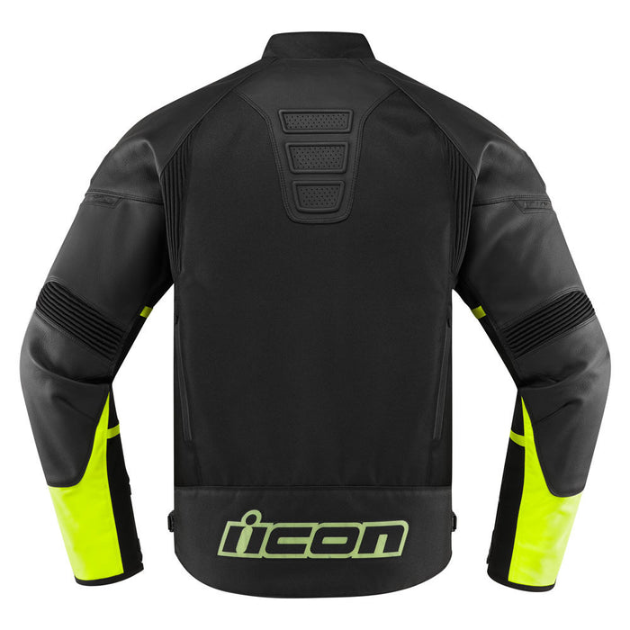 Icon Contra 2 Leather Jacket in Hi-Viz - Back