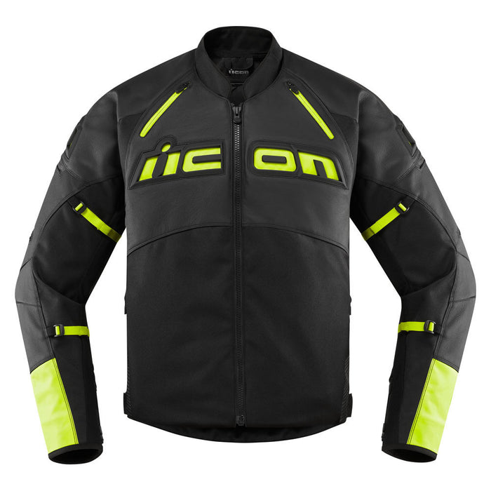 Icon Contra 2 Leather Jacket in Hi-Viz - Front
