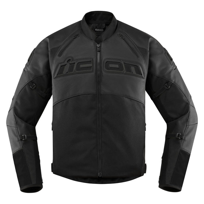 Icon Contra 2 Leather Jacket in Stealth - Front