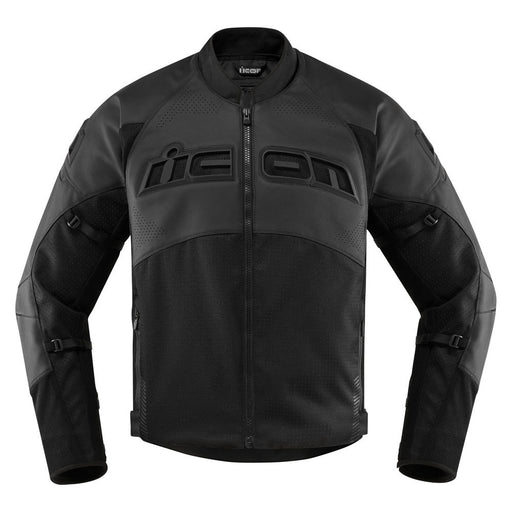 Icon Contra 2 Leather Perforated Jacket in Stealth - Front