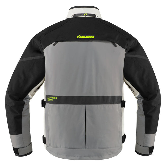 Icon Raiden Jacket in Gray/Hi-Viz - Back
