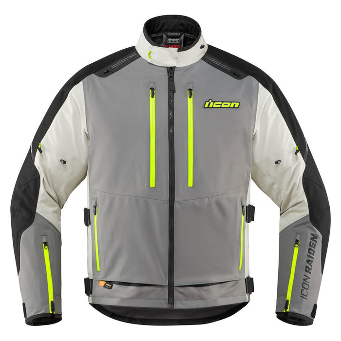 Icon Raiden Jacket in Gray/Hi-Viz - Front