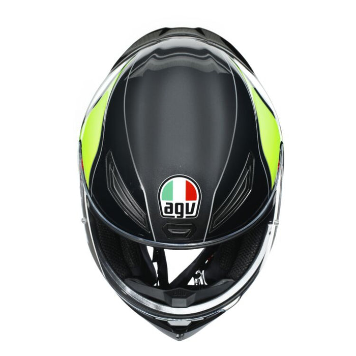 AGV K1 Power Helmet in Gunmetal/White/Green