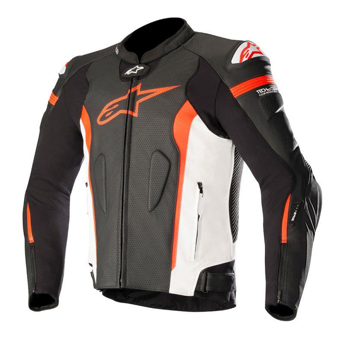 Alpinestars Missile Leather Jackets Men's Motorcycle Jackets Alpinestars Black/White/Fluo Red 48