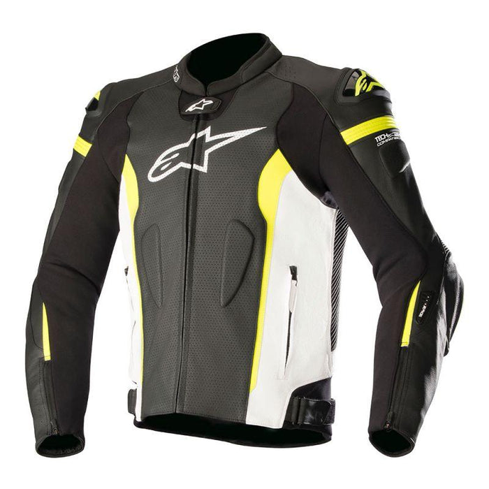 Alpinestars Missile Leather Jackets Men's Motorcycle Jackets Alpinestars Black/White/Fluo Yellow 48