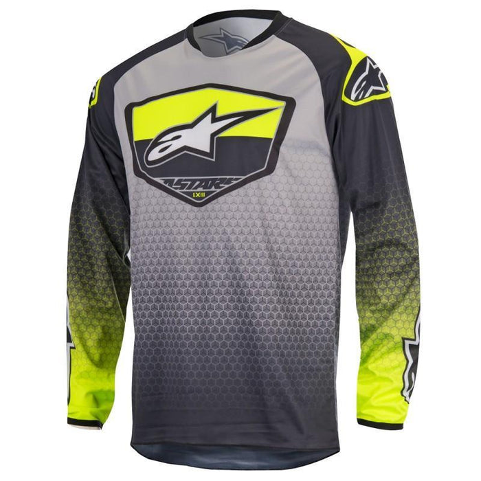 Alpinestars Racer Supermatic Jersey in Anthracite/Yellow/Gray Men's Motocross Jerseys Alpinestars