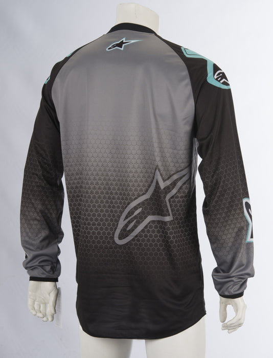 Alpinestars Racer Supermatic Jersey in Black/Grey/Teal Men's Motocross Jerseys Alpinestars