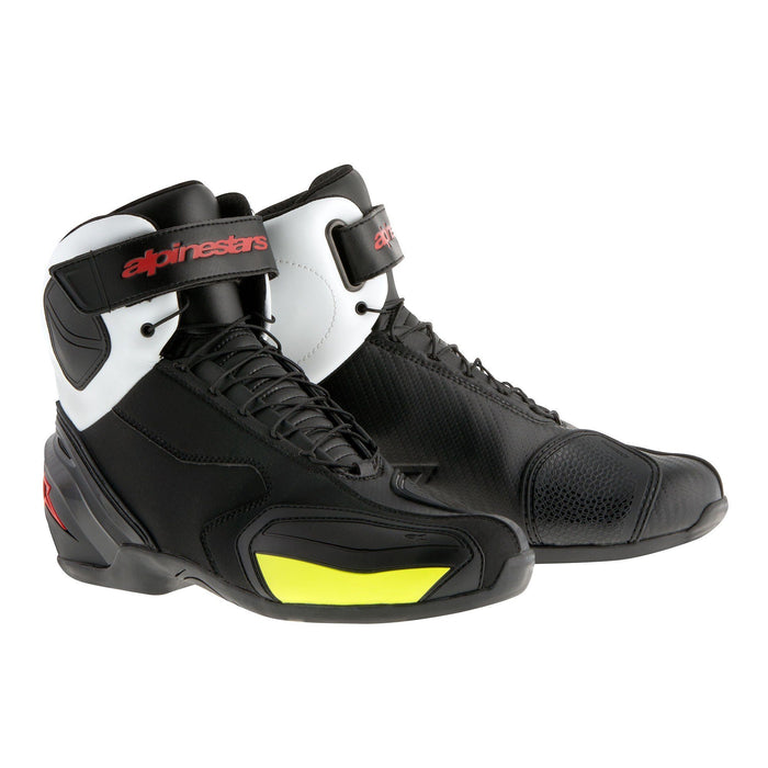Alpinestars SP-1 Shoe in Black/White/Red/Yellow Men's Motorcycle Boots Alpinestars