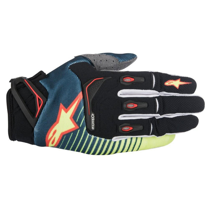 Alpinestars Techstar Motocross/Off-road Glove in Petrol/Yellow/Red Motocross Gloves Alpinestars