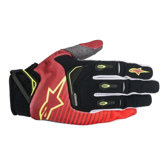 Alpinestars Techstar Motocross/Off-road Glove in Red/White/Yellow Motocross Gloves Alpinestars