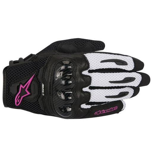Alpinestars Women's Stella SMX-1 Air Glove in Black/White/Fuchsia Women's Motorcycle Gloves Alpinestars