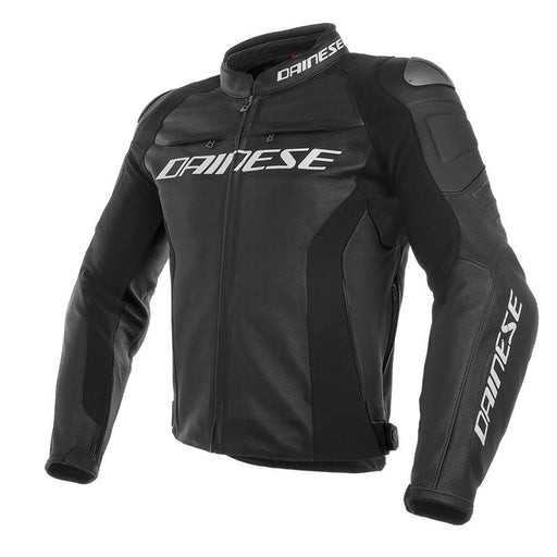 Dainese Racing 3 Perforated and S/T Leather Jacket Men's Motorcycle Jackets Dainese BLACK/BLACK/BLACK Perforated 44