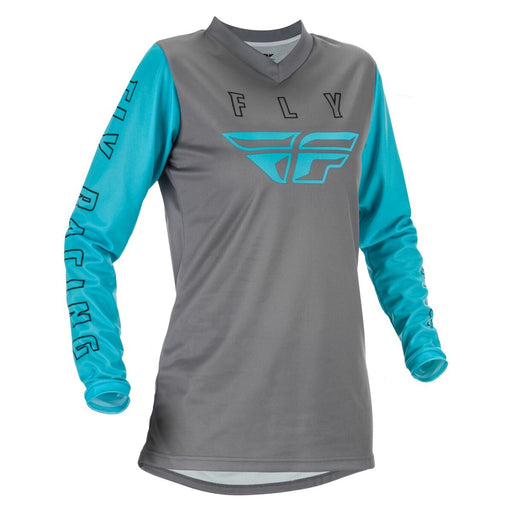 Fly Racing Women's F-16 Jersey in Grey/Blue