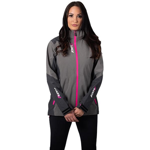FXR W Vertical Edge Trilaminate Jacket Charcoal/Fuchsia Women's Snowmobile Jackets FXR