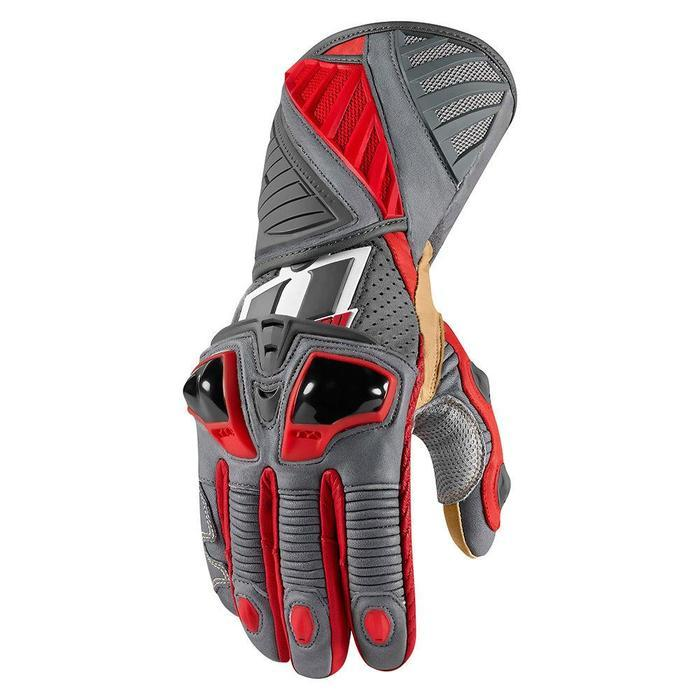 Icon Hypersport Pro Long Gloves Men's Motorcycle Gloves Icon Red S
