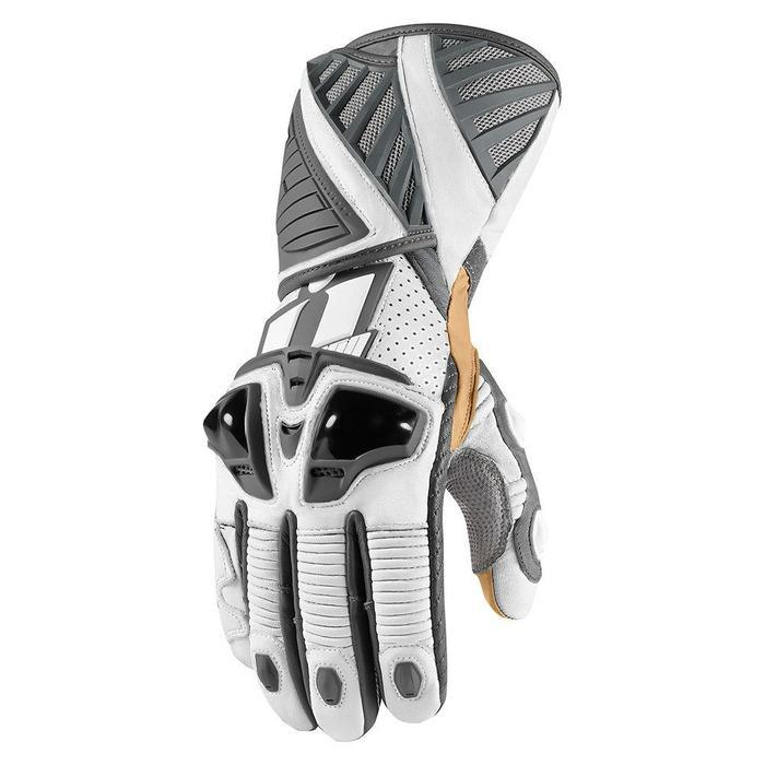 Icon Hypersport Pro Long Gloves Men's Motorcycle Gloves Icon White S