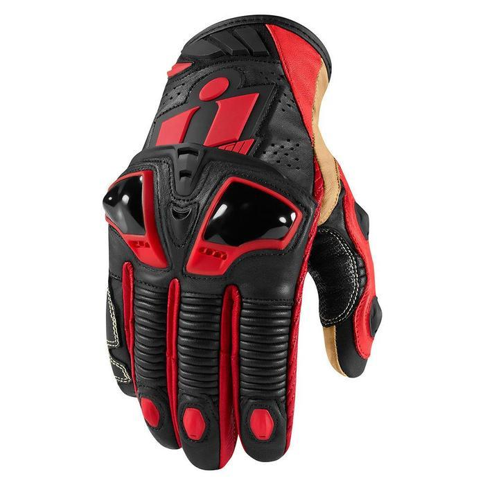 Icon Hypersport Pro Short Gloves Men's Motorcycle Gloves Icon Red S