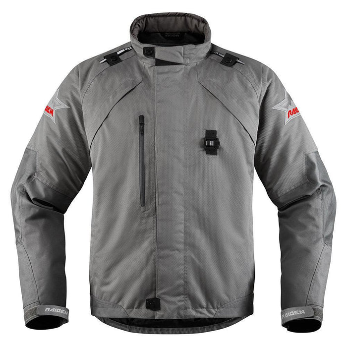Icon Raiden DKR Monochromatic Waterproof Jackets Men's Motorcycle Jackets Icon Grey SM