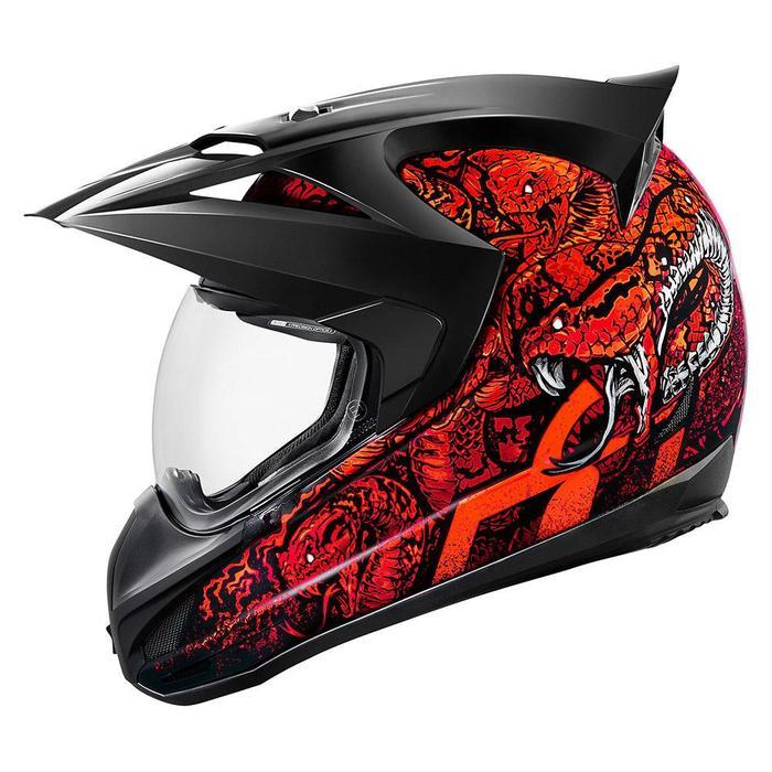 Icon Variant Cottonmouth Helmets Motorcycle Helmets Icon Red XS