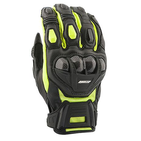 JOE ROCKET Men's Blaster SR Leather Gloves Men's Motorcycle Gloves Joe Rocket Hi-Vis/Black Small