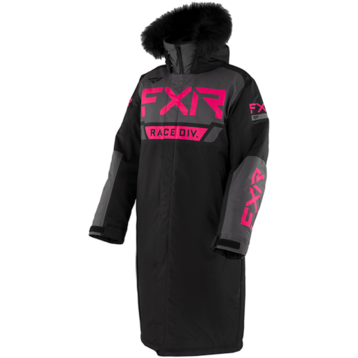 Warm-Up Women's Coat inBlack/Charcoal/Fuchsia